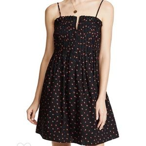 Madewell- Strawberries Pintuck Ruffle Cami Dress